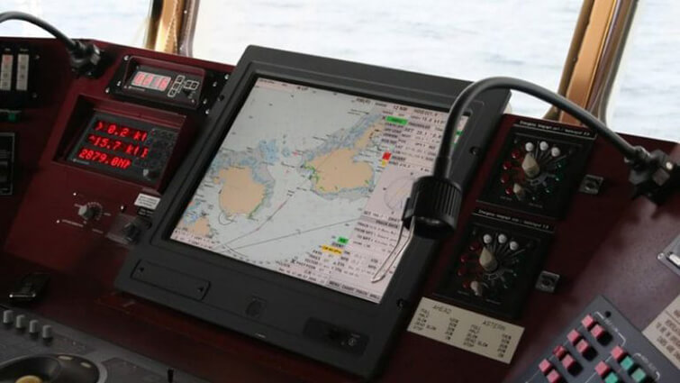 Electronic Navigational Chart on the bridge of a ship