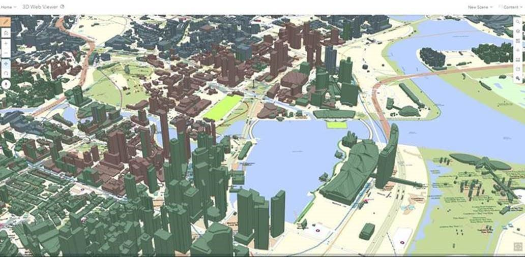 Screengrab from the SPF eGIS platform showing 3D map of buildings around The Float@Marina Bay