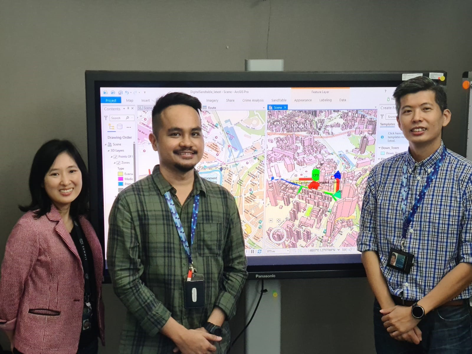 Project Manager Sarah Lee, Project Officer Muhd Fahmi Firdaus Ismail, and Lead Engineer Benson Lim from the Enterprise Platforms, Ops Infra, JCPMC.