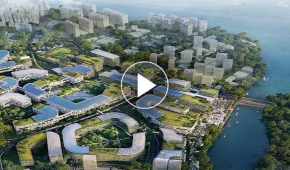Video thumbnail of an artist impression of Punggol Digital District